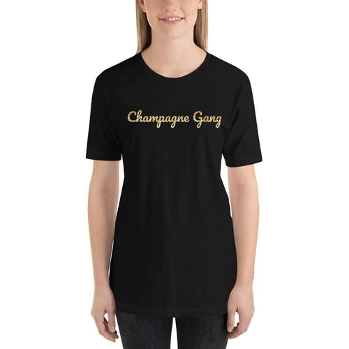 womens wine tshirts Black / XS Champagne Gang (v1)