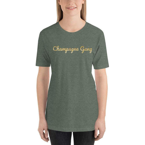 womens wine tshirts Heather Forest / S Champagne Gang (v1)