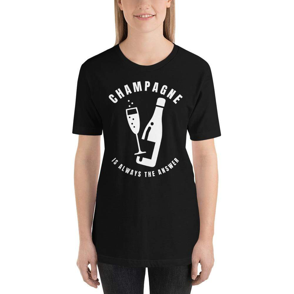 womens wine tshirts Black / XS Champagne Is Always The Answer (v1)