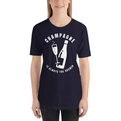 womens wine tshirts Navy / XS Champagne Is Always The Answer (v1)