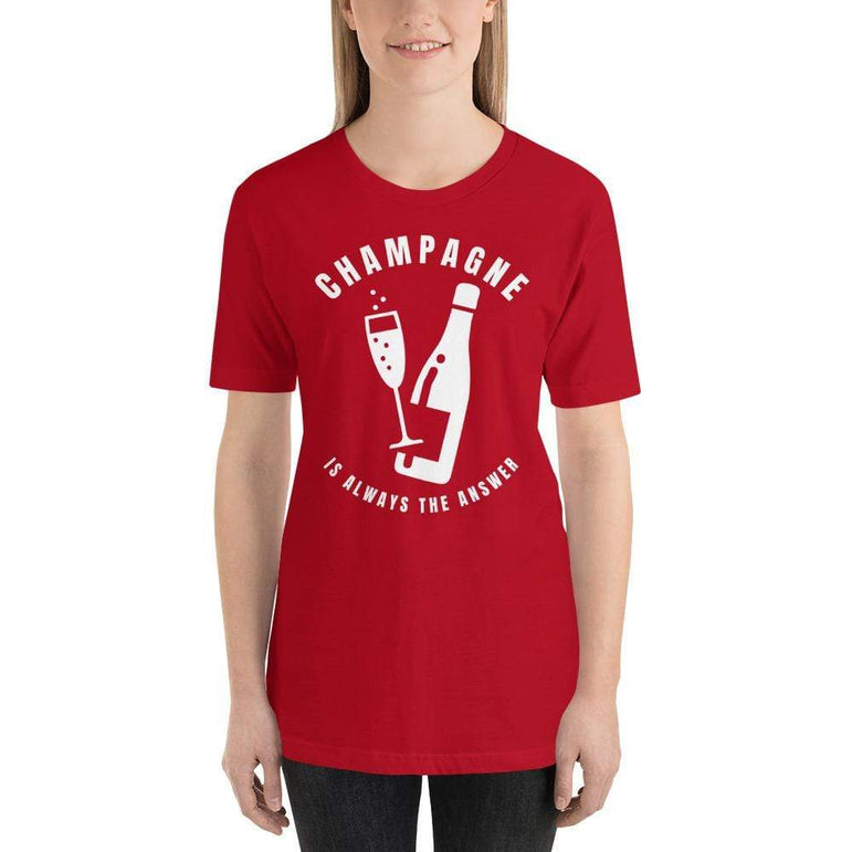 womens wine tshirts Red / S Champagne Is Always The Answer (v1)