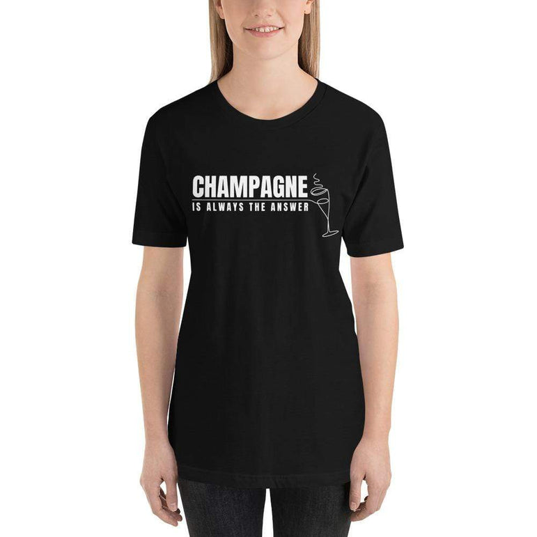 womens wine tshirts Black / XS Champagne Is Always The Answer (v2)