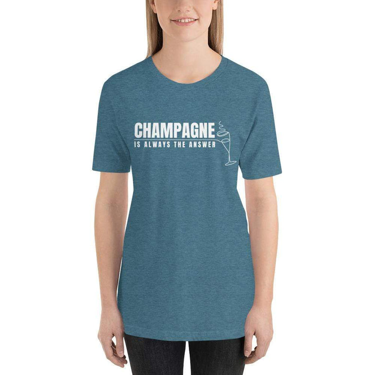 womens wine tshirts Heather Deep Teal / S Champagne Is Always The Answer (v2)
