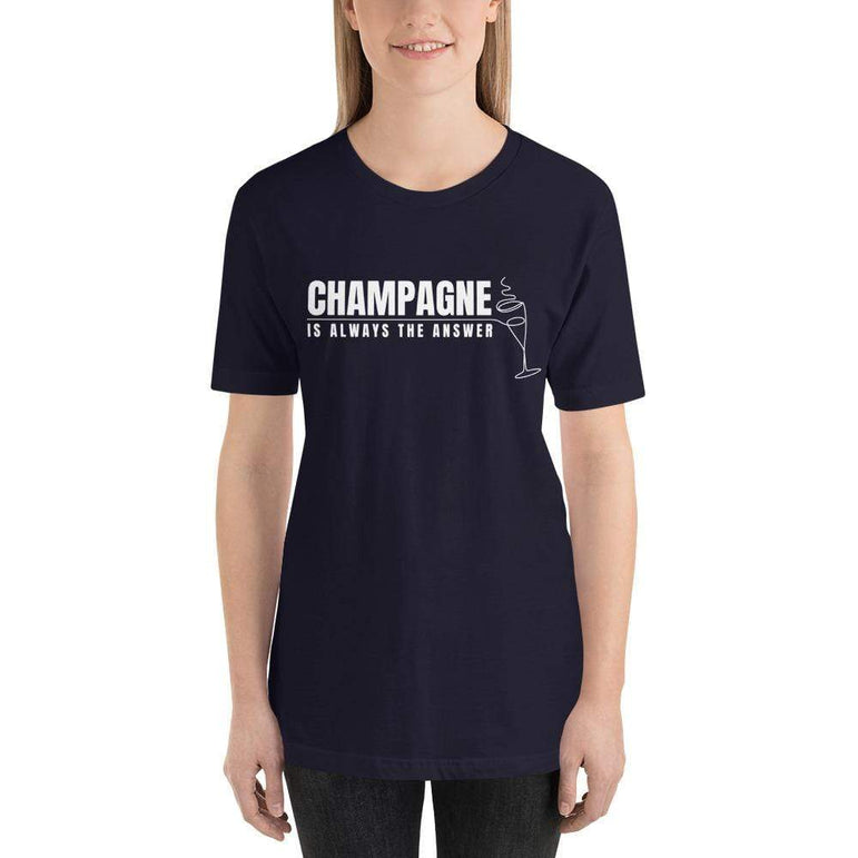 womens wine tshirts Navy / XS Champagne Is Always The Answer (v2)