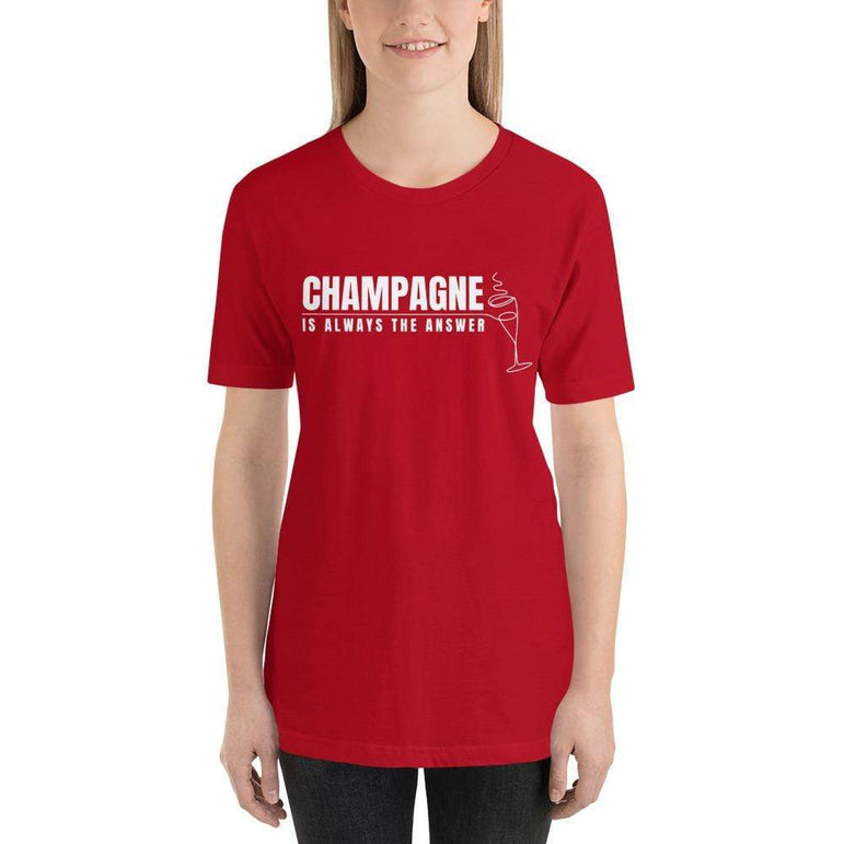 womens wine tshirts Red / S Champagne Is Always The Answer (v2)