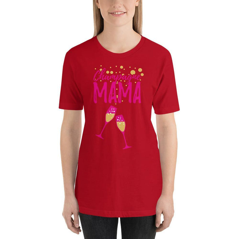 womens wine tshirts Red / S Champagne Mama (v1)