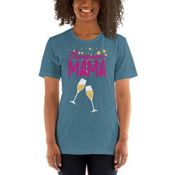 womens wine tshirts Heather Deep Teal / S Champagne Mama (v2)