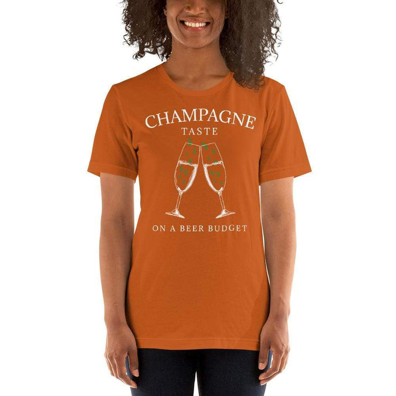 womens wine tshirts Autumn / S Champagne Taste On A Beer Budget (v3)