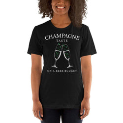 womens wine tshirts Black / XS Champagne Taste On A Beer Budget (v3)