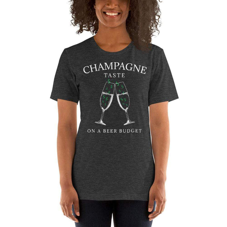 womens wine tshirts Dark Grey Heather / XS Champagne Taste On A Beer Budget (v3)