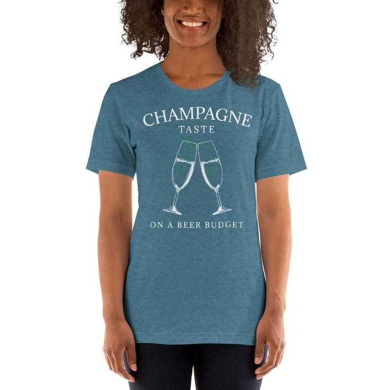 womens wine tshirts Heather Deep Teal / S Champagne Taste On A Beer Budget (v3)