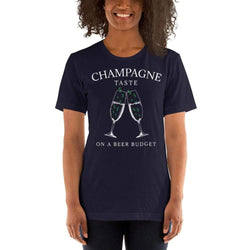 womens wine tshirts Navy / XS Champagne Taste On A Beer Budget (v3)