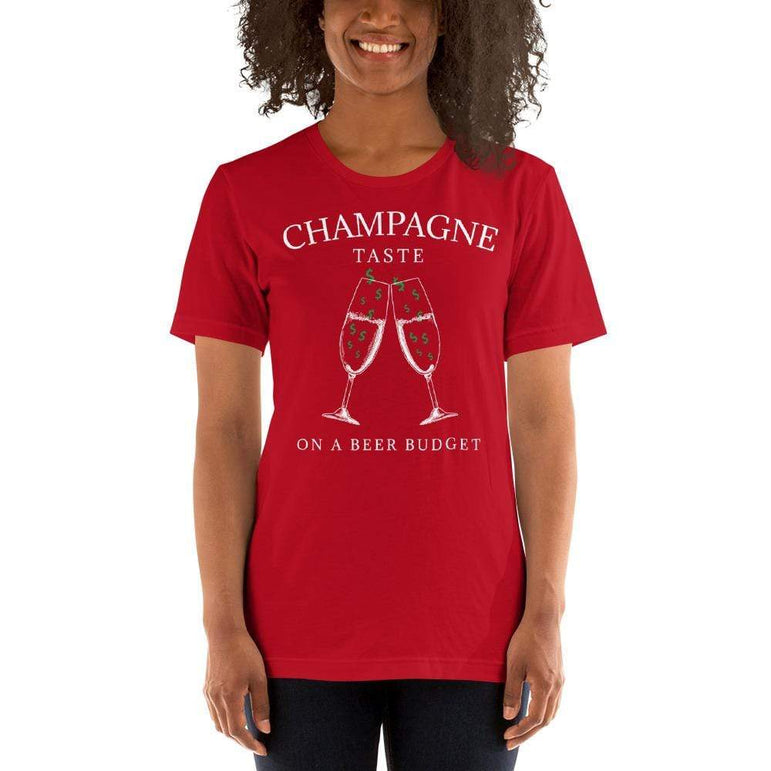 womens wine tshirts Red / S Champagne Taste On A Beer Budget (v3)