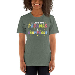 womens wine tshirts Heather Forest / S I Live For Pajamas And Champagne (v1)