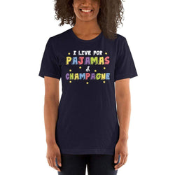 womens wine tshirts Navy / XS I Live For Pajamas And Champagne (v1)
