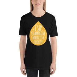 womens wine tshirts Black / XS I Sip Champagne When I'm Thirsty (v2)