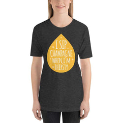 womens wine tshirts Dark Grey Heather / XS I Sip Champagne When I'm Thirsty (v2)
