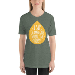 womens wine tshirts Heather Forest / S I Sip Champagne When I'm Thirsty (v2)