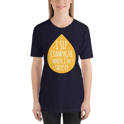 womens wine tshirts Navy / XS I Sip Champagne When I'm Thirsty (v2)