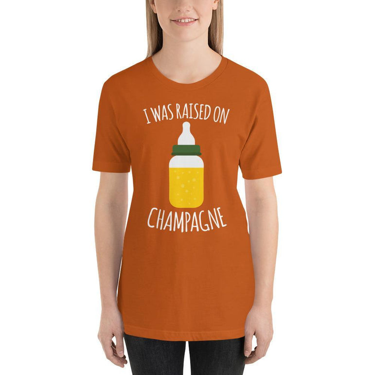 womens wine tshirts Autumn / S I Was Raised On Champagne (v1)