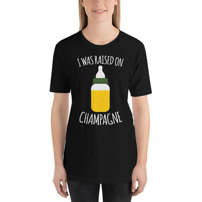 womens wine tshirts Black / XS I Was Raised On Champagne (v1)