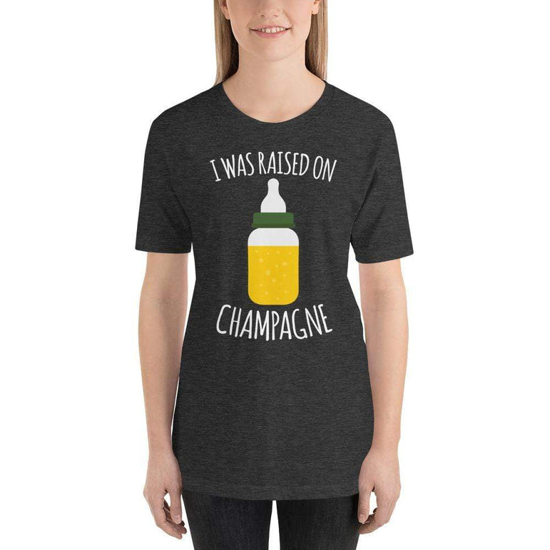 womens wine tshirts Dark Grey Heather / XS I Was Raised On Champagne (v1)