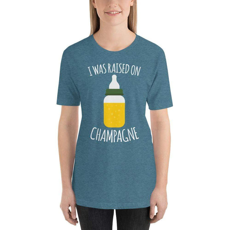womens wine tshirts Heather Deep Teal / S I Was Raised On Champagne (v1)