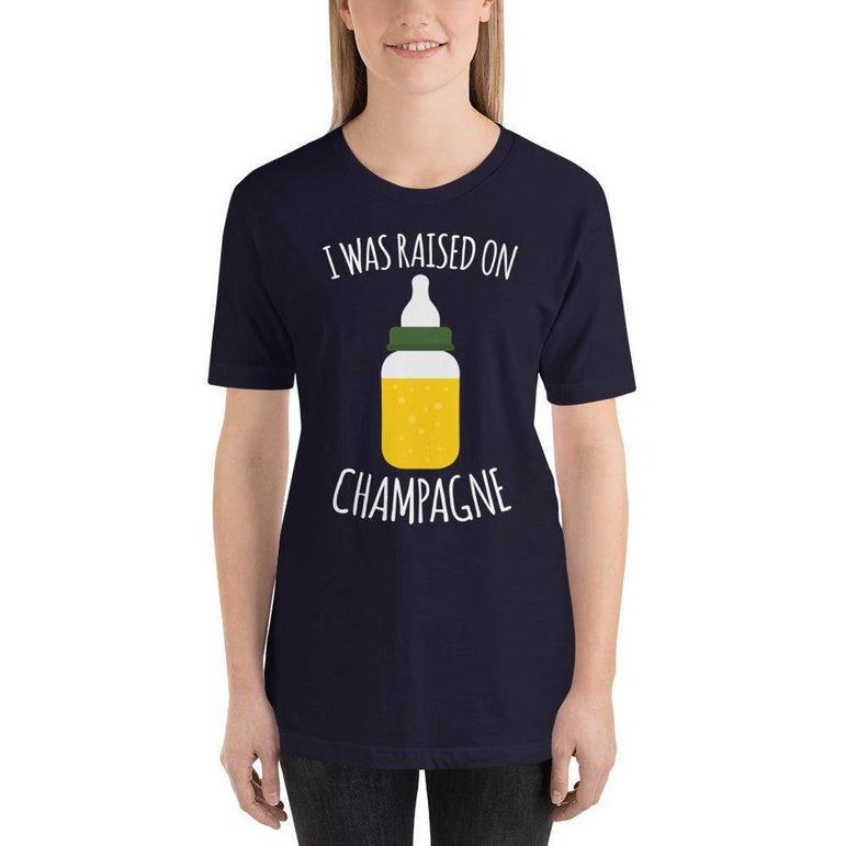 womens wine tshirts Navy / XS I Was Raised On Champagne (v1)
