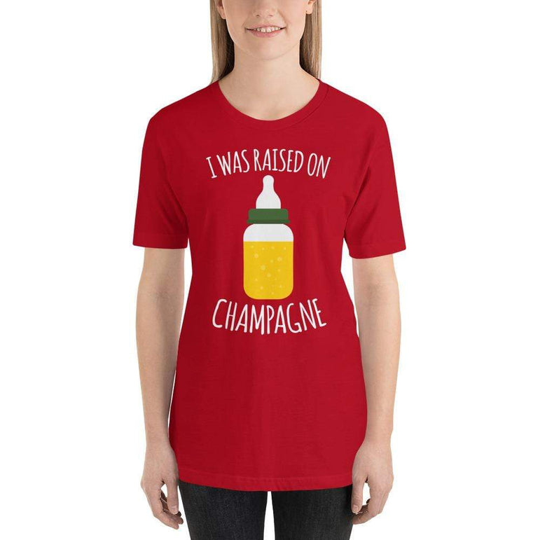 womens wine tshirts Red / S I Was Raised On Champagne (v1)