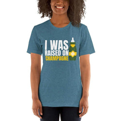 womens wine tshirts Heather Deep Teal / S I Was Raised On Champagne (v2)