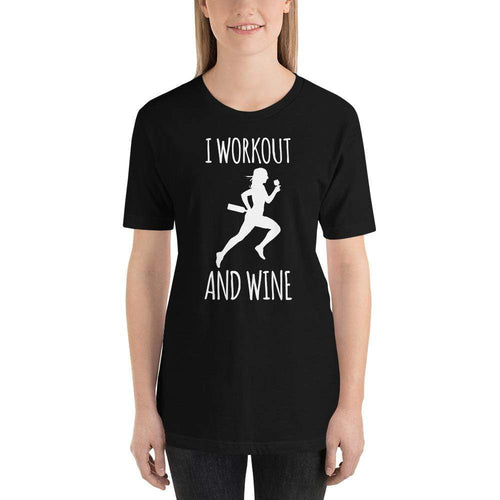 womens wine tshirts Black / XS I Workout And Wine (v1)