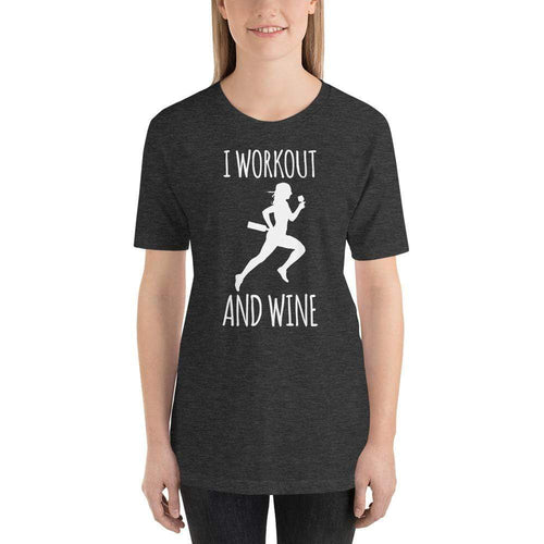 womens wine tshirts Dark Grey Heather / XS I Workout And Wine (v1)