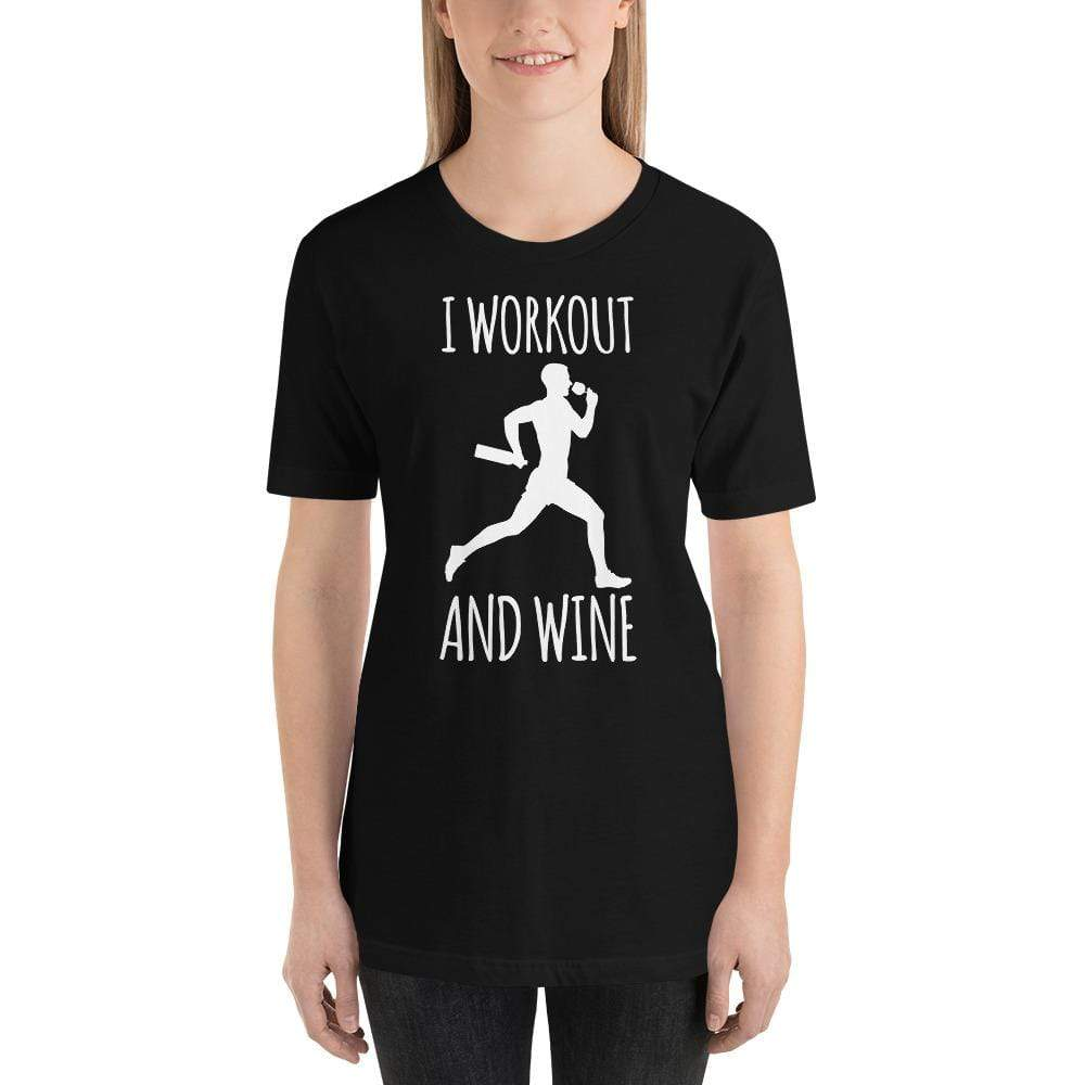 womens wine tshirts Black / XS I Workout And Wine (v2)