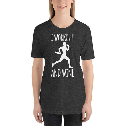 womens wine tshirts Dark Grey Heather / XS I Workout And Wine (v2)