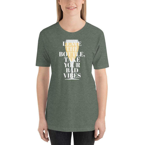 womens wine tshirts Heather Forest / S Leave The Bottle Take Your Bad Vibes (v1)