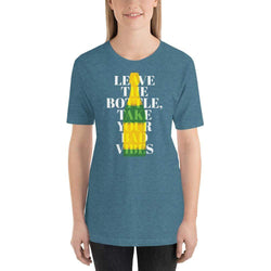 womens wine tshirts Heather Deep Teal / S Leave The Bottle Take Your Bad Vibes (v2)