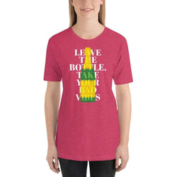 womens wine tshirts Heather Raspberry / S Leave The Bottle Take Your Bad Vibes (v2)