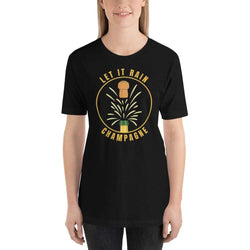 womens wine tshirts Black / XS Let It Rain Champagne (v2)