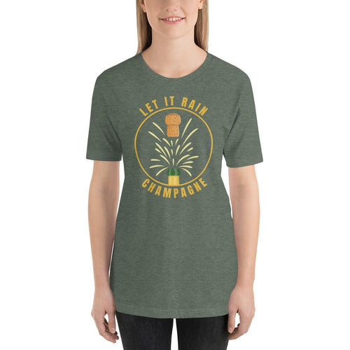 womens wine tshirts Heather Forest / S Let It Rain Champagne (v2)