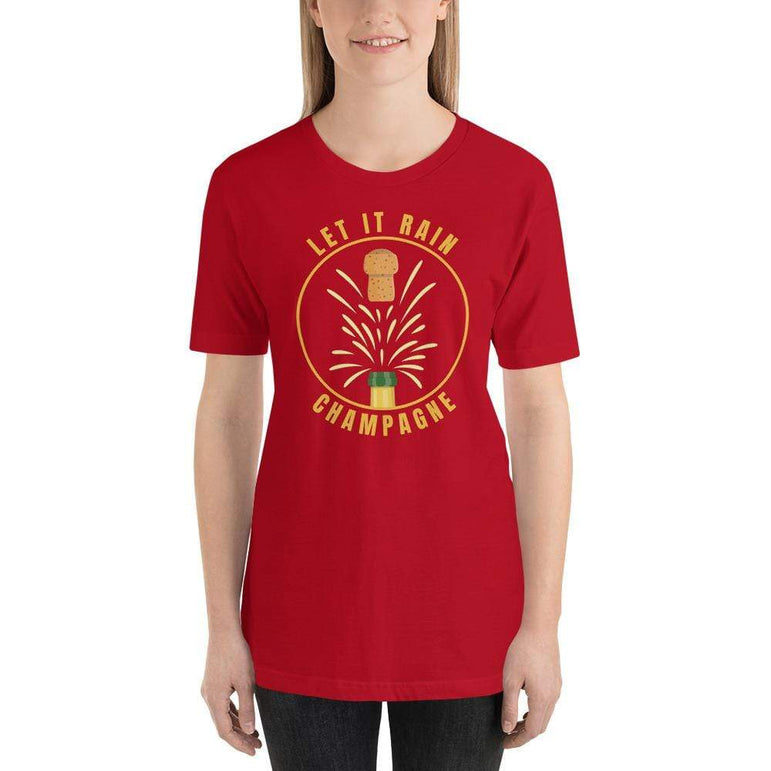 womens wine tshirts Red / S Let It Rain Champagne (v2)