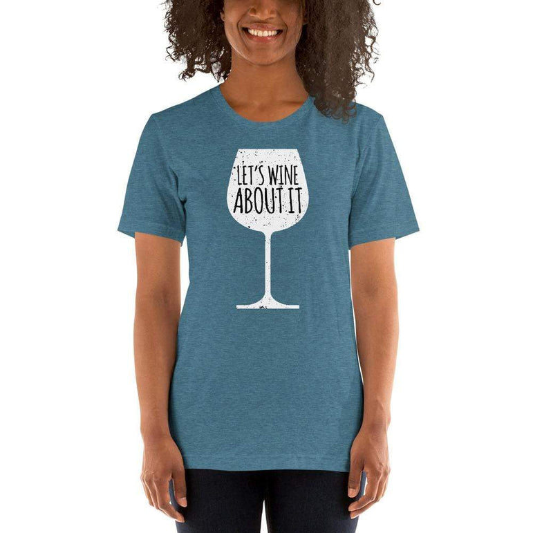 womens wine tshirts Heather Deep Teal / S Let's Wine About It (v1)