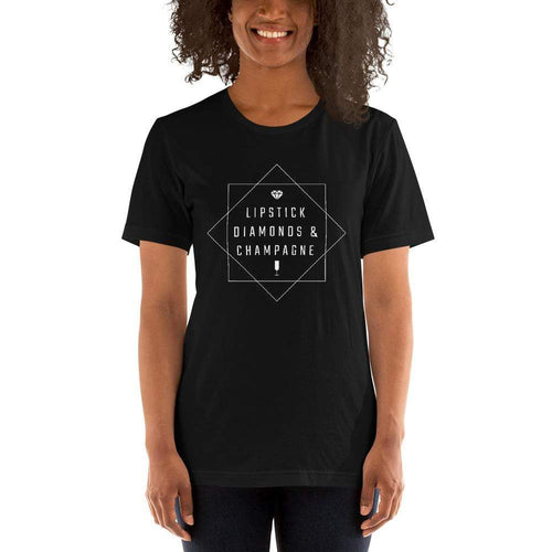 womens wine tshirts Black / XS Lipstick Diamonds & Champagne (v2)