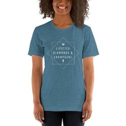 womens wine tshirts Heather Deep Teal / S Lipstick Diamonds & Champagne (v2)