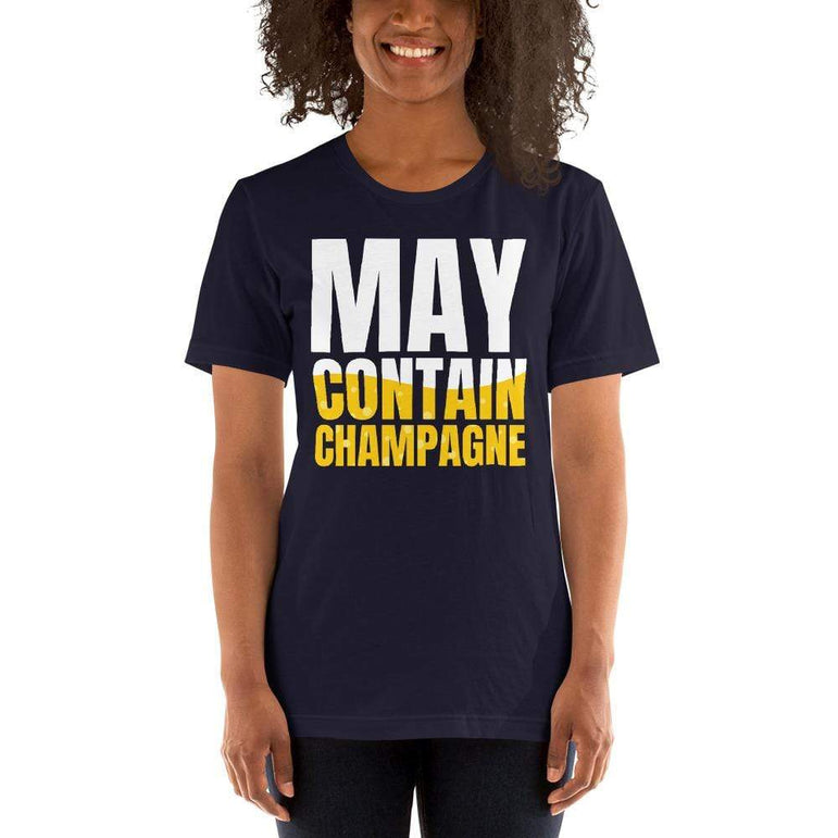 womens wine tshirts Navy / XS May Contain Champagne (v1)
