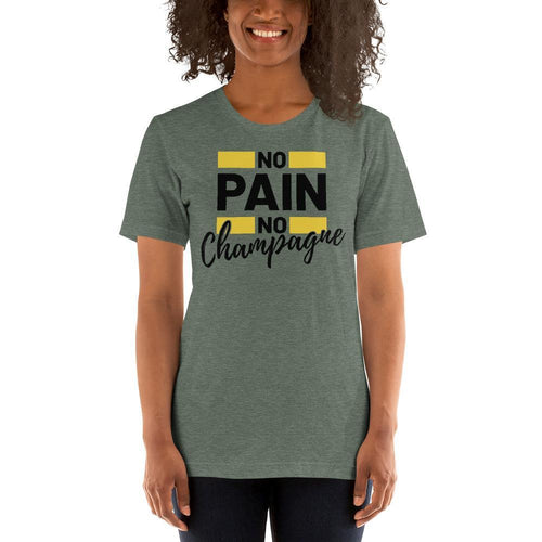 womens wine tshirts Heather Forest / S No Pain No Champagne (v1)
