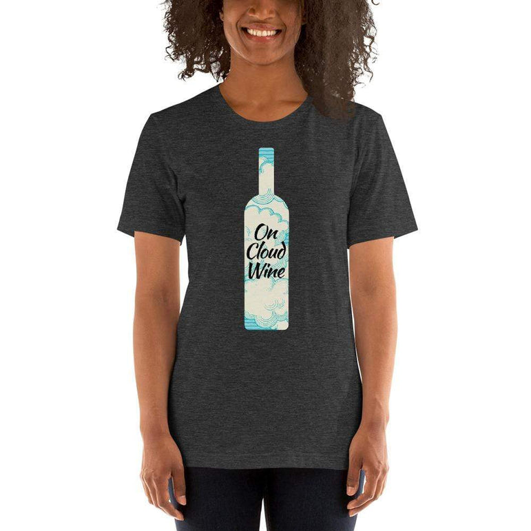 womens wine tshirts Dark Grey Heather / XS On Cloud Wine (v1)