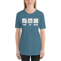 womens wine tshirts Heather Deep Teal / S Pour Sip Repeat (v2)
