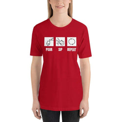 womens wine tshirts Red / S Pour Sip Repeat (v2)