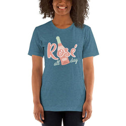 womens wine tshirts Heather Deep Teal / S Rosè All Day (v1)