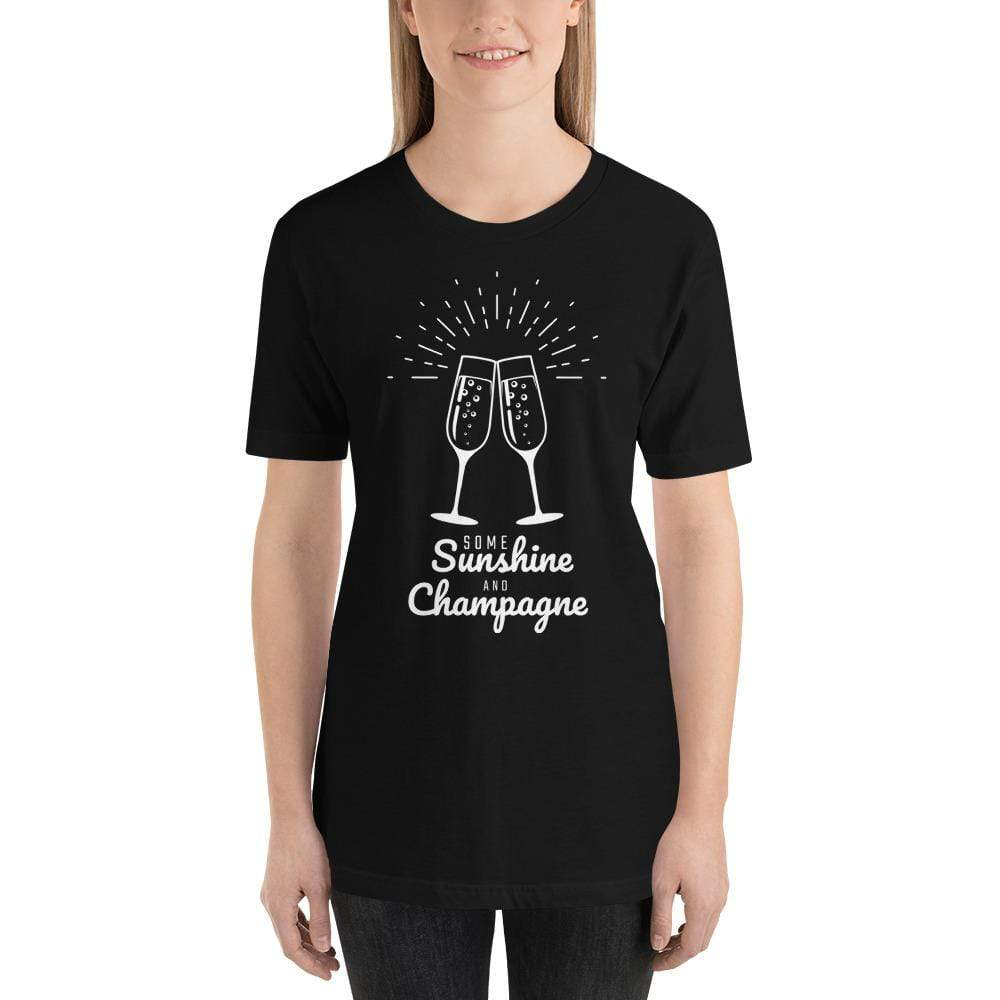 womens wine tshirts Black / XS Some Sunshine And Champagne (v1)